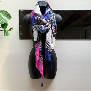 Accessories - Magenta, Blue, Lilac Patterned Scarf Wrap Tapestry